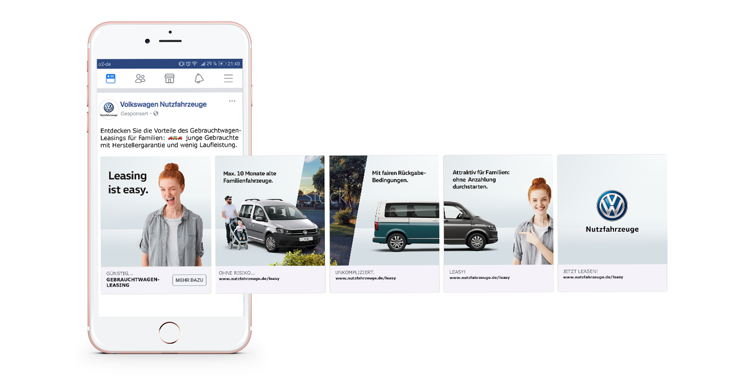 Smartphone mit Carousel Link Ad auf Facebook