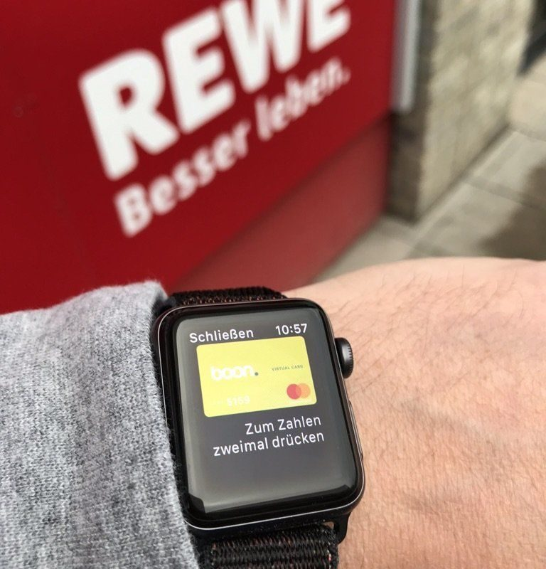 Apple Pay auf der Apple Watch bei Rewe