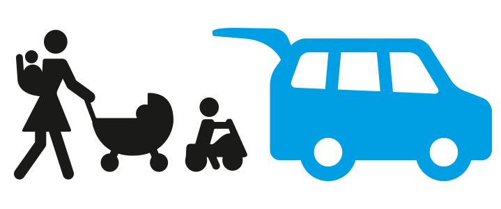 Icon: Fahrzeug mit Mutter und Kindern