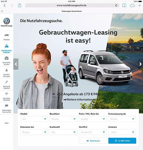 Screenshot: Startseiten-Teaser VW Nutzfahrzeugsuche