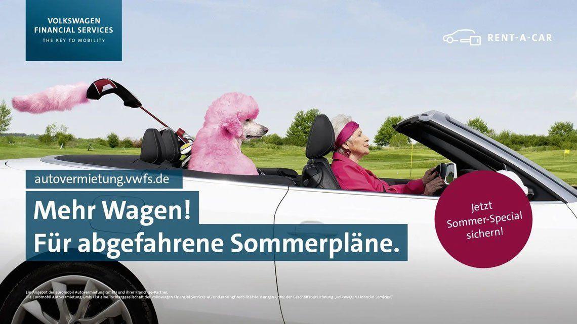 """Mehr Wagen"" Kampagnenmotiv Pudel"