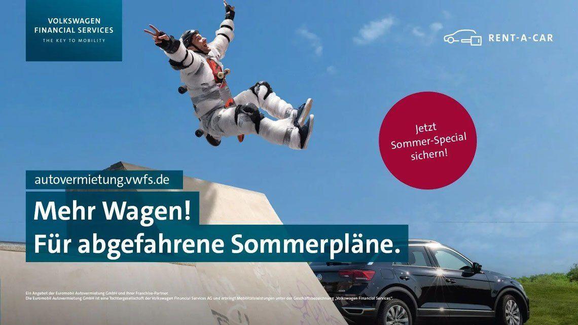 """Mehr Wagen"" Kampagnenmotiv Skater"