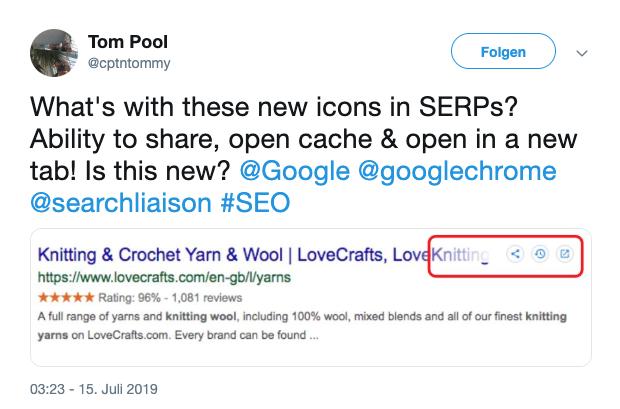 Ansicht der Google Suchergebnisseite mit den getesteten Buttons zum Teilen von Suchergebnissen