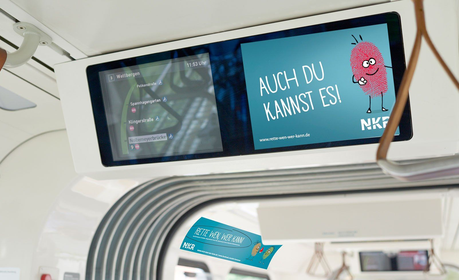 "Fahrgastfernsehen NKR Kampagne ""Rette wen, wer kann!"""