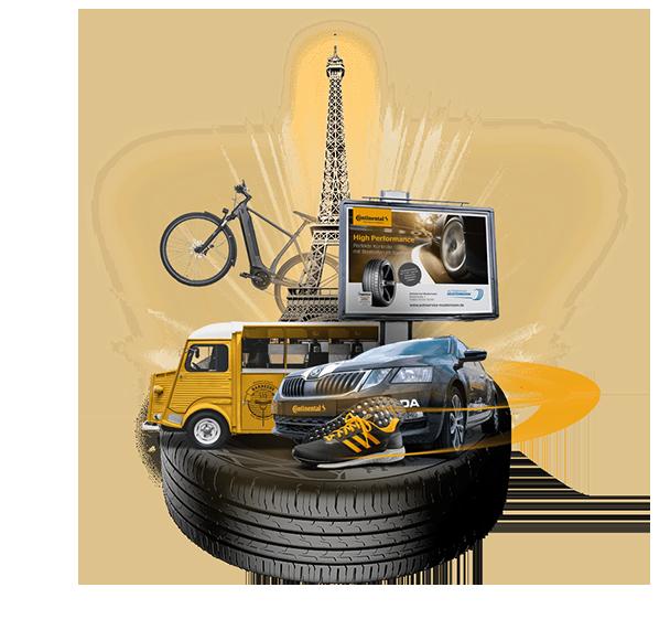 ContiChiliChallenge: Darstellung der Gewinne auf einem Reifen