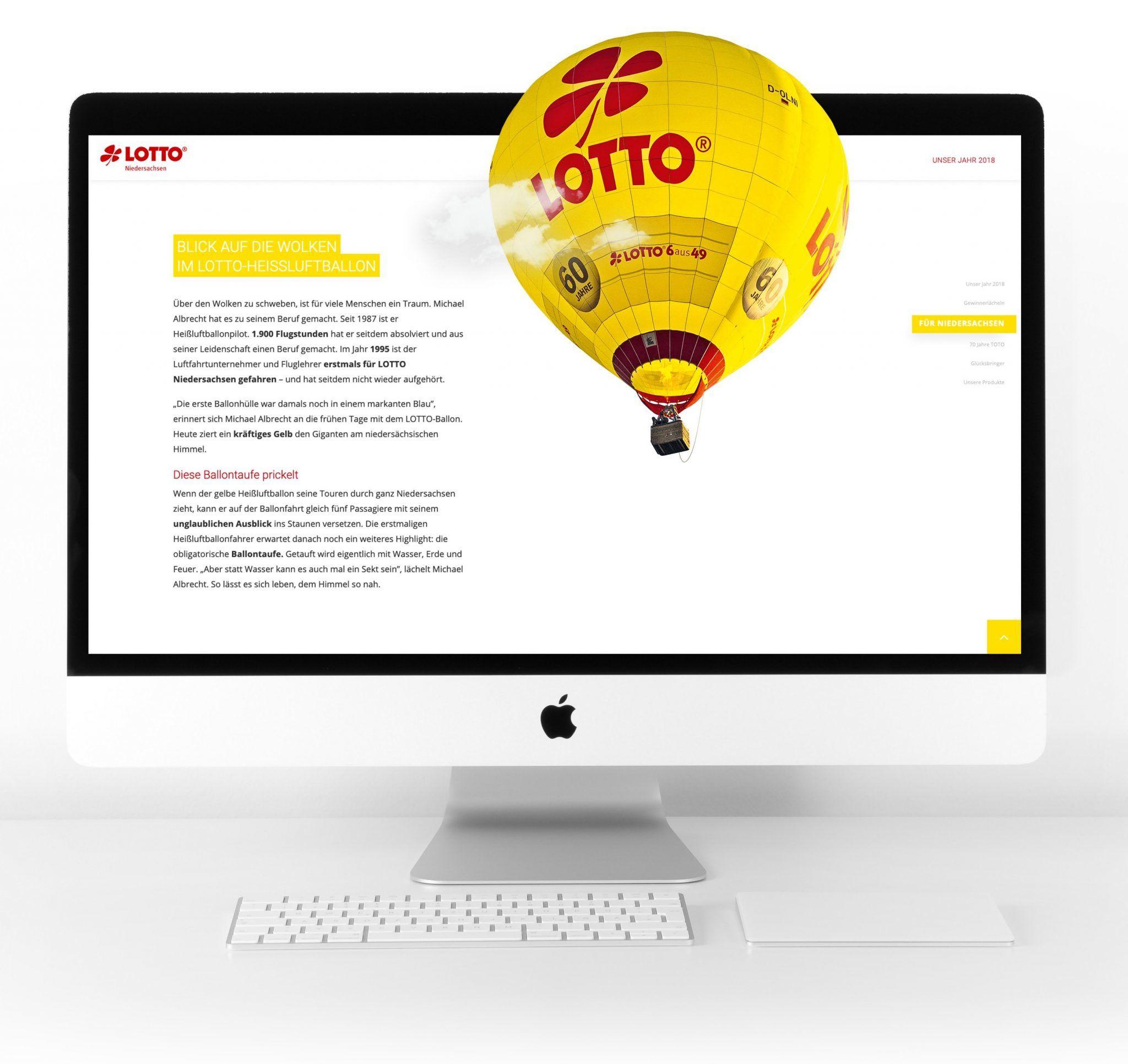 Der Lotto Heißluftballon als Gestaltungselement im Online-Geschäftsbericht von Lotto Niedersachsen