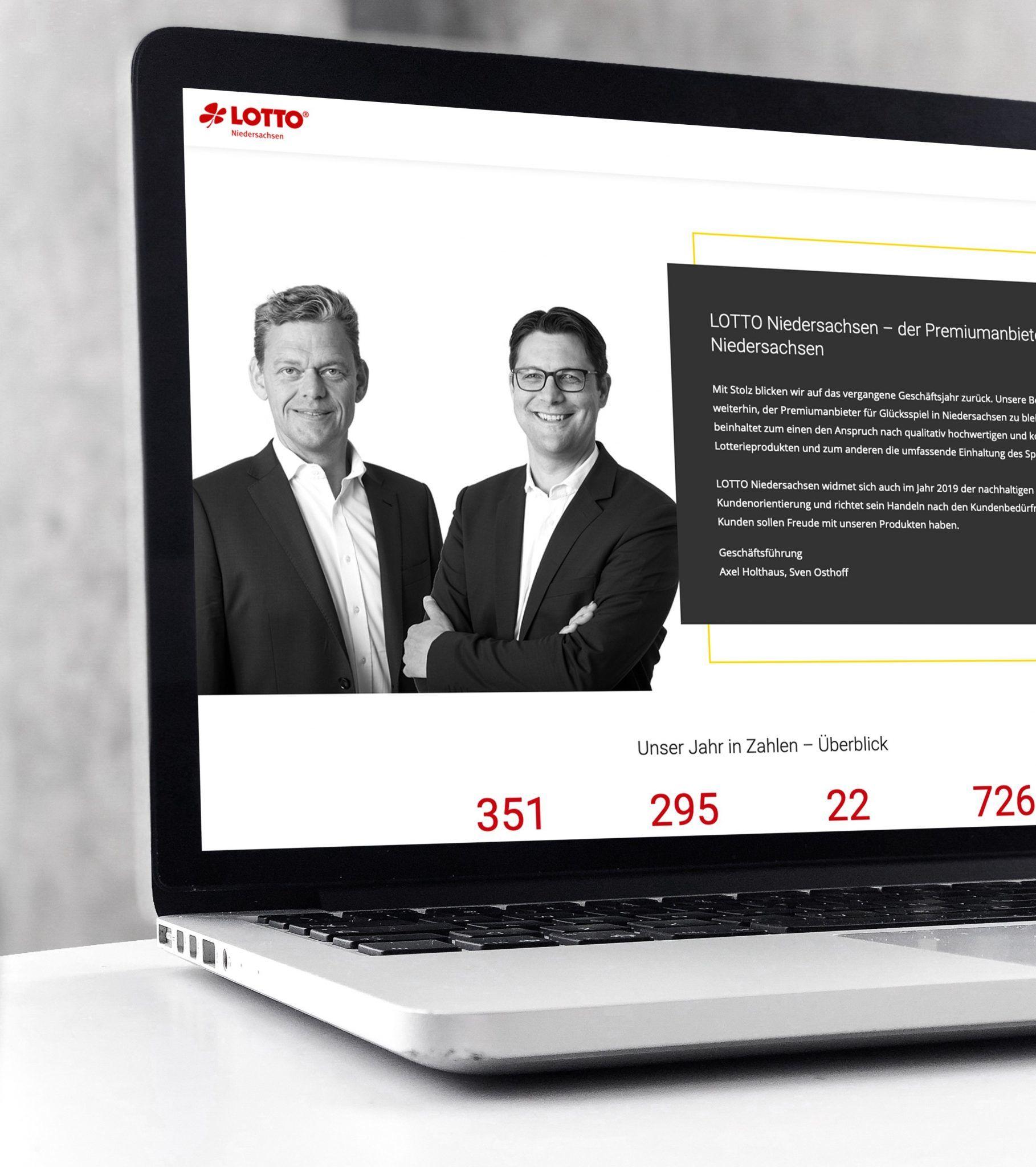 Die Startseite des digitalen Geschäftsberichts 2018 von Lotto Niedersachsen dargestellt auf einem Laptop