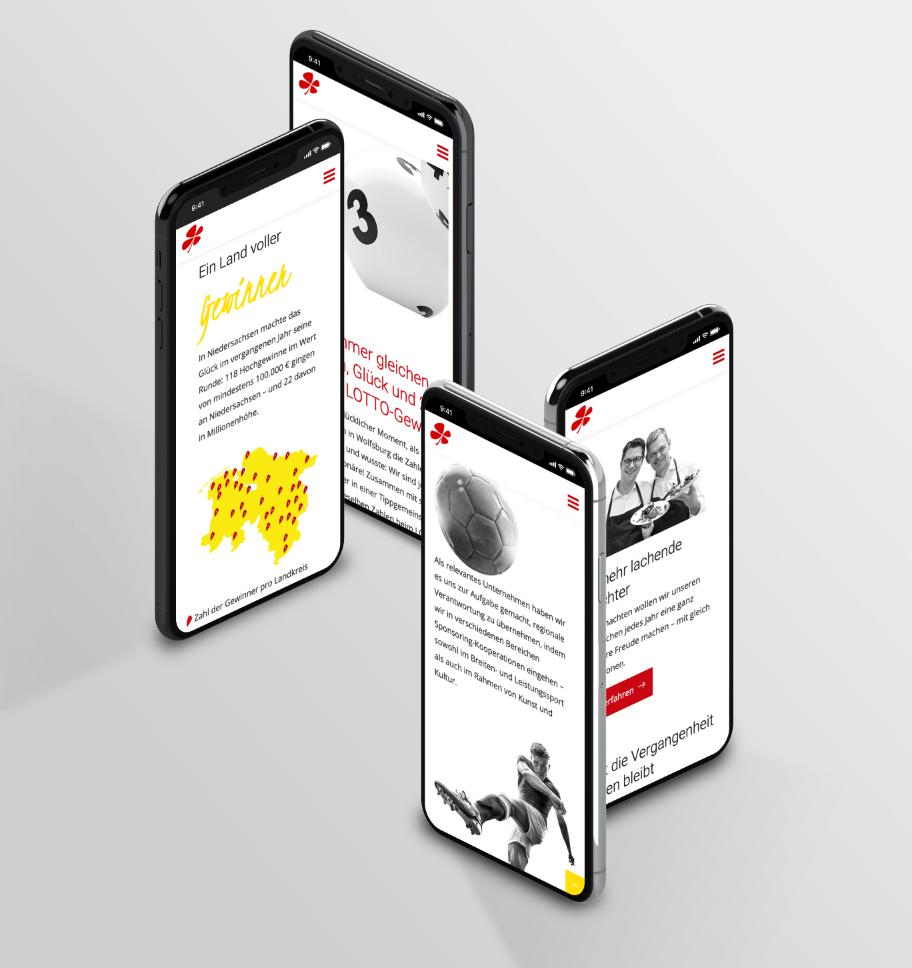 Smartphone-Darstellungen verschiedener Themen im Geschäftsbericht von Lotto Niedersachsen