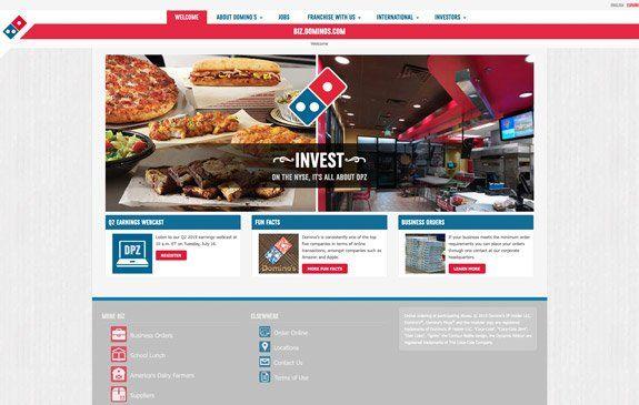 Ausschnitt der Website Domino's Pizza: Nicht barrierefrei