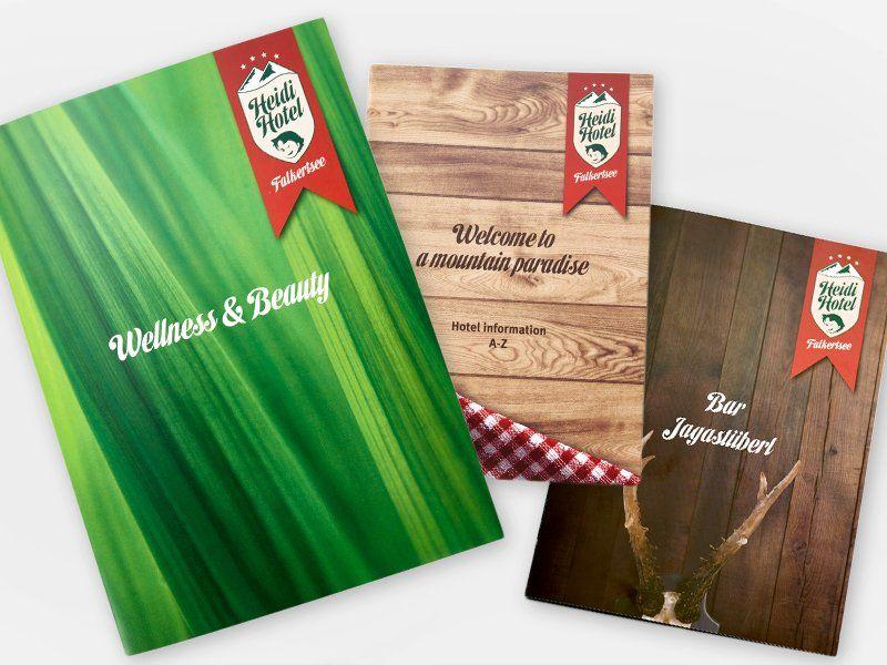 Heidi-Hotel Wellness-, Willkommens- und Barbroschueren