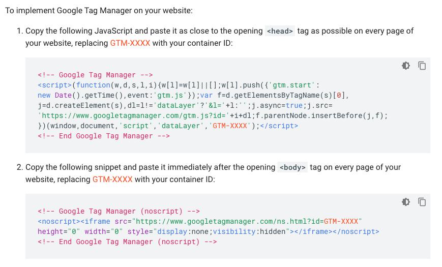 Auszug aus dem Quick Start Guide des Google Tag Managers