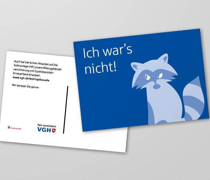 VGH Handelsmarketing Wohngebäudeversicherung Postkarte Waschbär