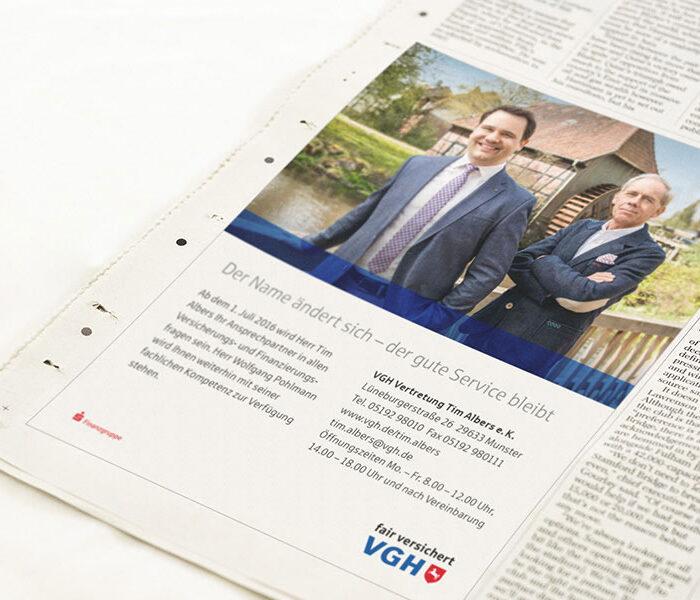 VGH Handelsmarketing-Maßnahme Print-Anzeige als VGH Lead-Agentur | Windrich & Sörgel