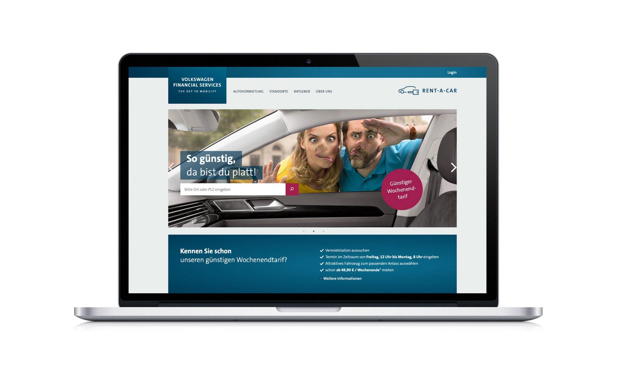 VW FS Rent-a-Car Website Laptop