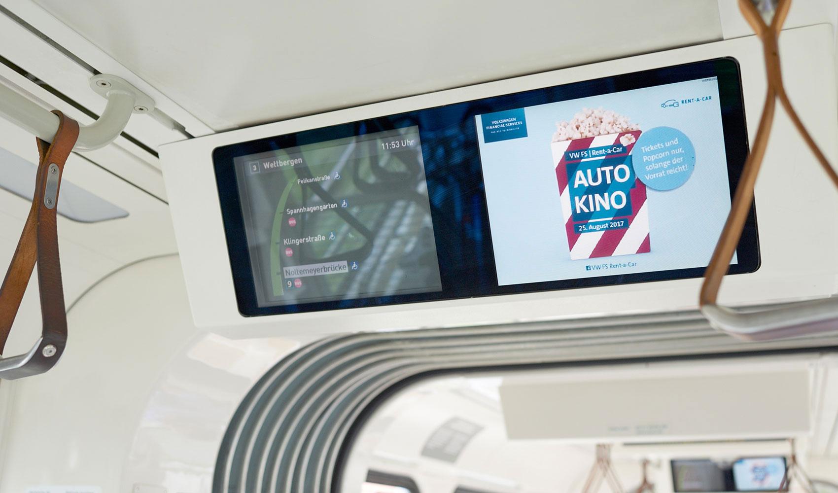 VWFS Rent-a-Car Autokino Bildschirmwerbung Straßenbahn