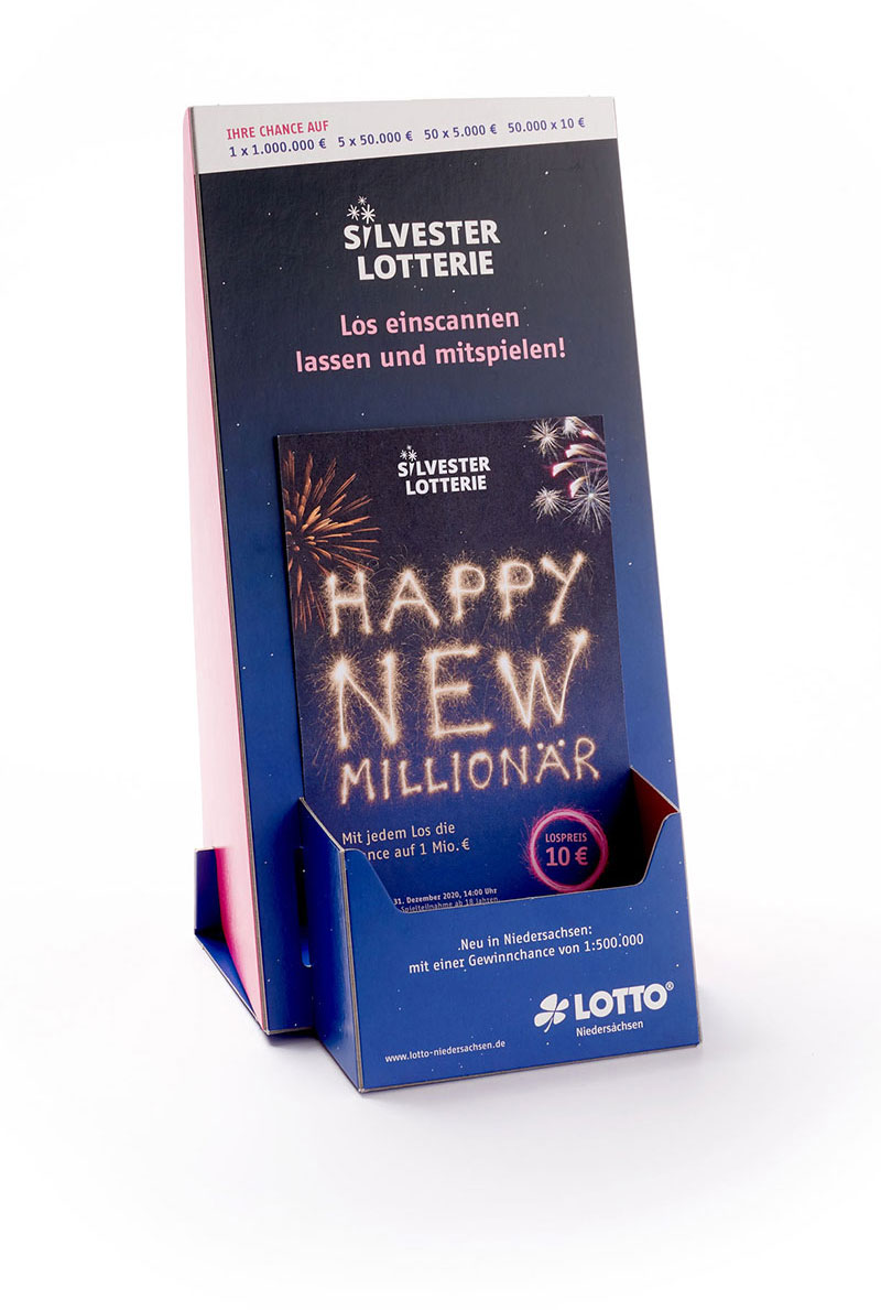 Lotto Niedersachsen Silversterlotterie Aufsteller mit Spielschein
