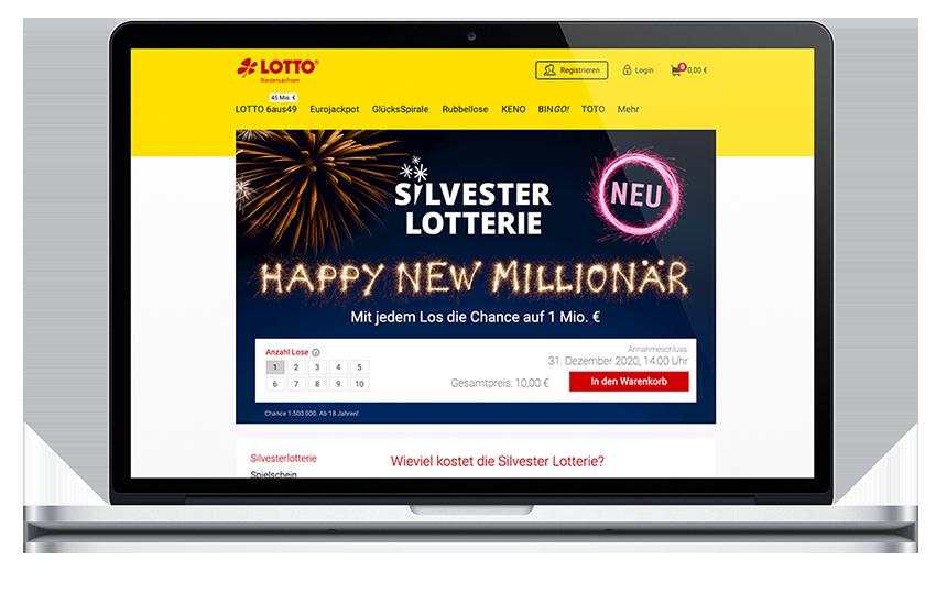 Lotto Niedersachsen Silversterlotterie Websitebühne