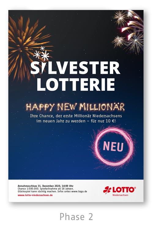 Lotto Niedersachsen Silversterlotterie Kampagne Plakat Phase 2