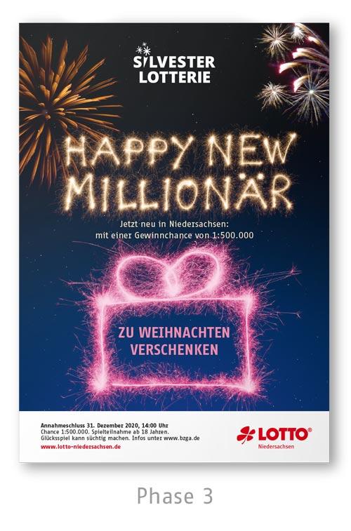 Lotto Niedersachsen Silversterlotterie Kampagne Plakat Phase 3