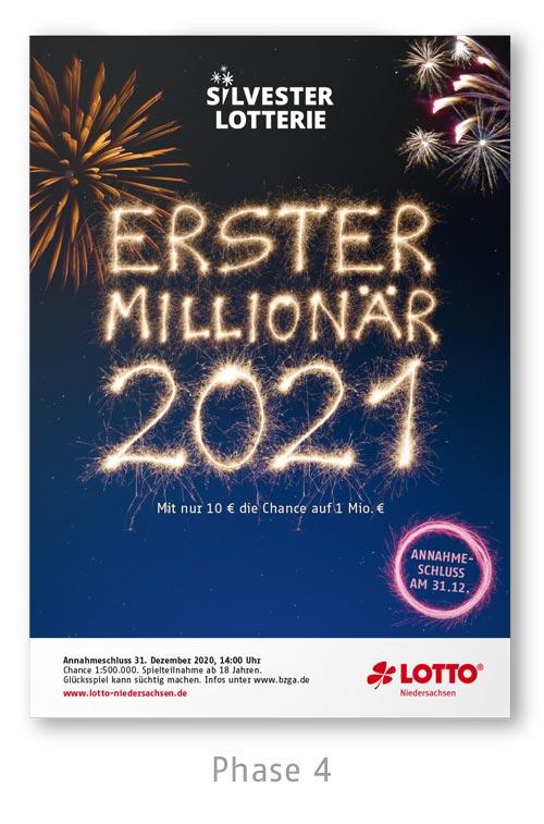Lotto Niedersachsen Silversterlotterie Kampagne Plakat Phase 4
