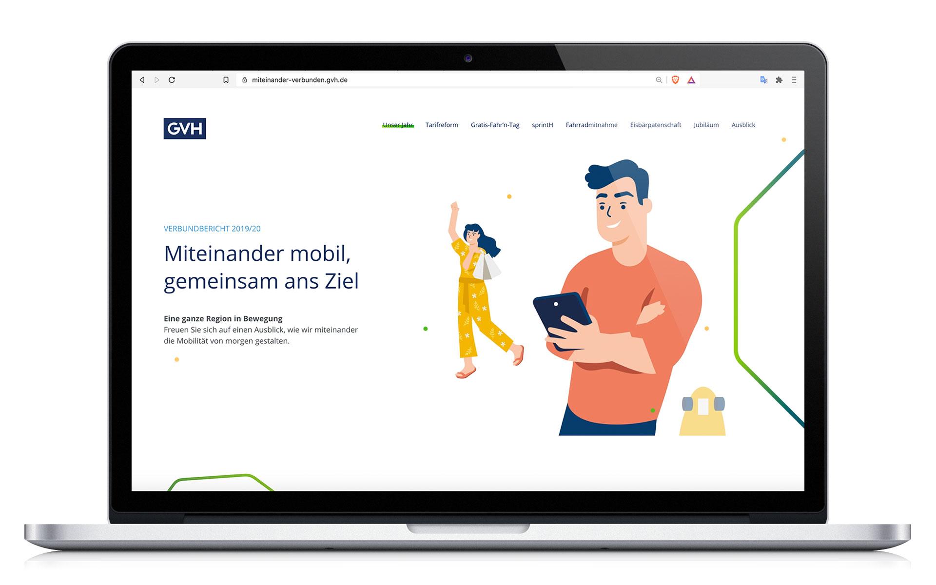 GVH Geschäftsbericht Laptop Website Screen